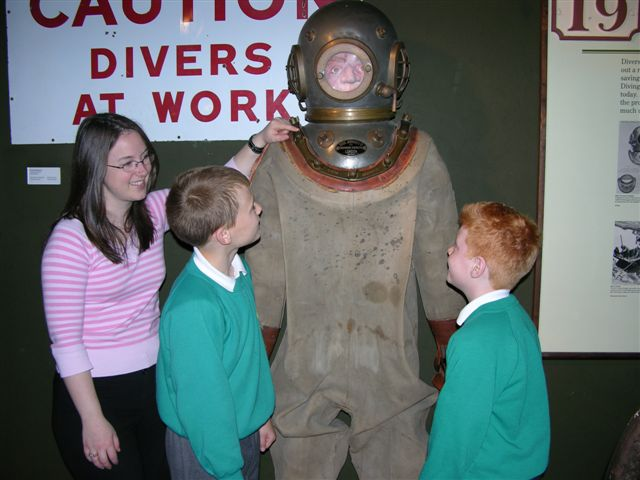 Meeting the museum's diver.